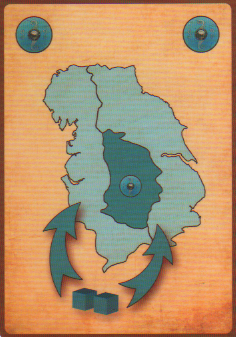 This is the Scots card. It allows the player to place two blue followers from the common pool into regions adjacent to a region controlled by the Scots.