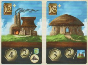 The card on the left costs 12 coins to purchase and will grant 4 Village Points at the end of the game, plus 2 bonus Village Points per Ore and Potion in possession.